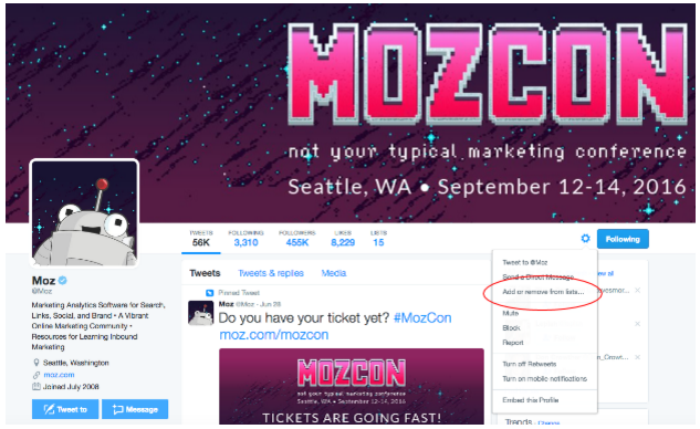A screen shot of Moz's Twitter page, demonstrating how to add users to Twitter lists.