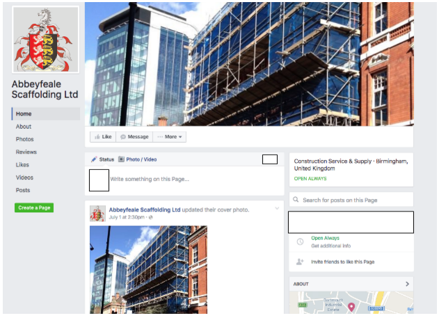 Screenshot of the split test for a new Facebook business page layout