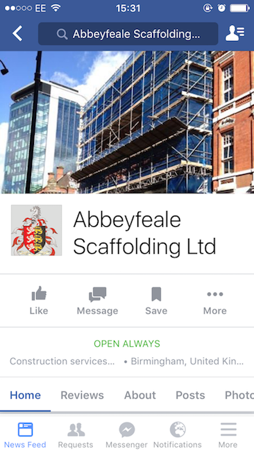 A screenshot of the potential new Facebook business page on a mobile phone.