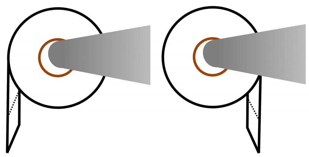 Two toilet rolls illustrating the toilet paper debate.