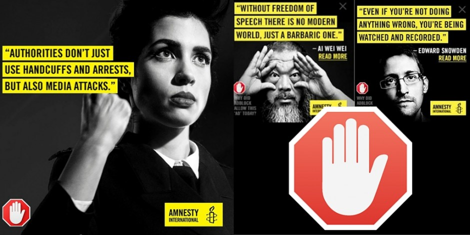 An image of an advert that AdBlock and Amnesty International collaborated on, in which multiple people are speaking out against censorship (mostly in a political context)