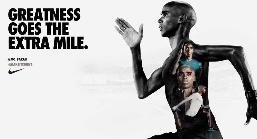 A picture showing Mo Farah in a Nike campaign as part of their brand storytelling