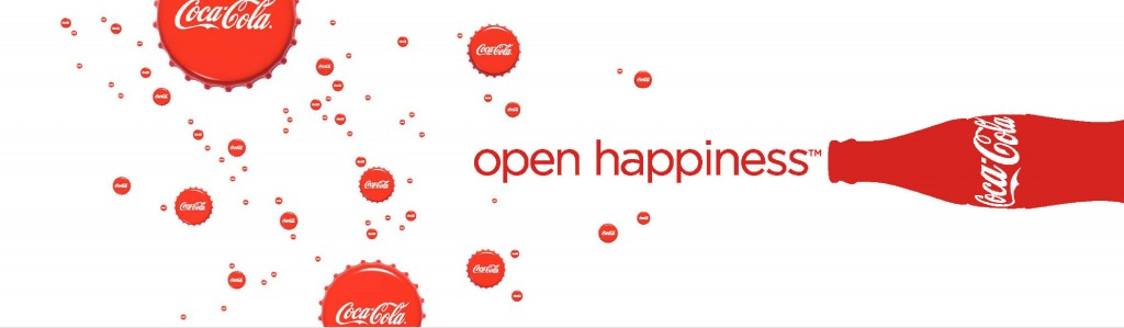 An advertisement for Coca-Cola in which a Coka-Cola bottle lays on its side, open, and the words coming out of it are 'open hapiness'