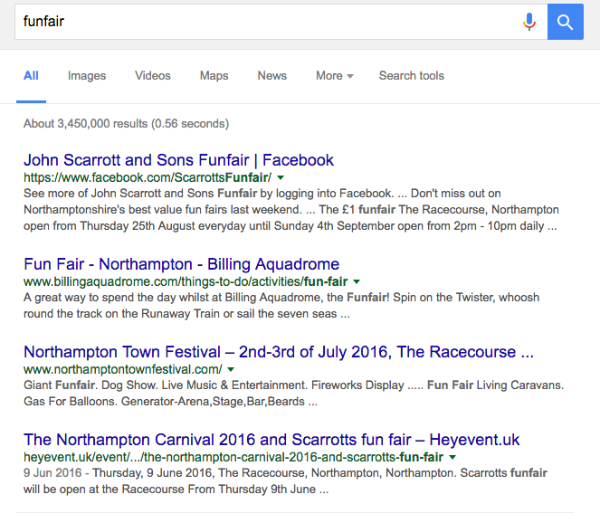 Another screenshot of a google search, this time for 'funfair', showing local search results because of a Possum algorithm update, potentially