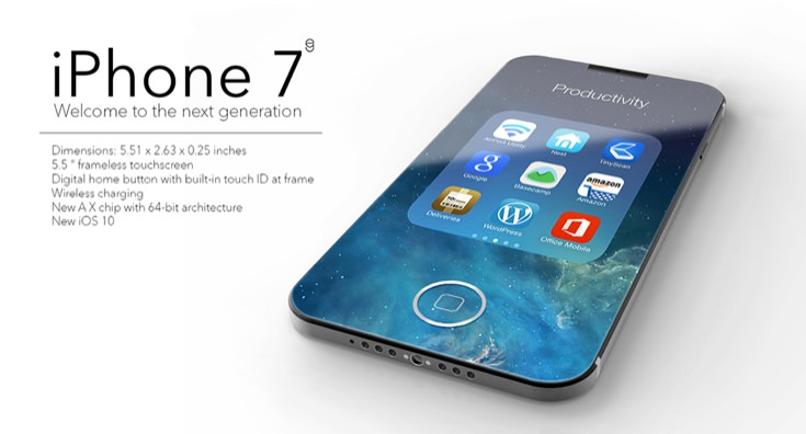 An iPhone 7 advert, showing the new iPhone with spec details, and the tag line 'Welcome to the next generation'