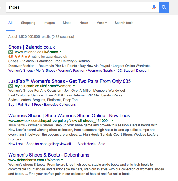 A google search result for 'shoes' in which no local results are seen, only big brands