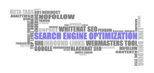 A picture of an SEO fundamentals graphic in grey and purple