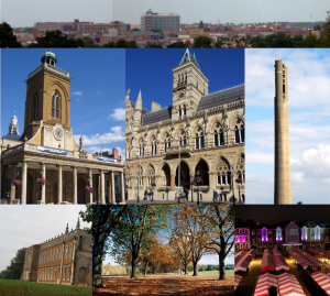 A montage of different places and landmarks in Northampton, one of the areas that Active Internet Marketing (UK) provide SEO services to