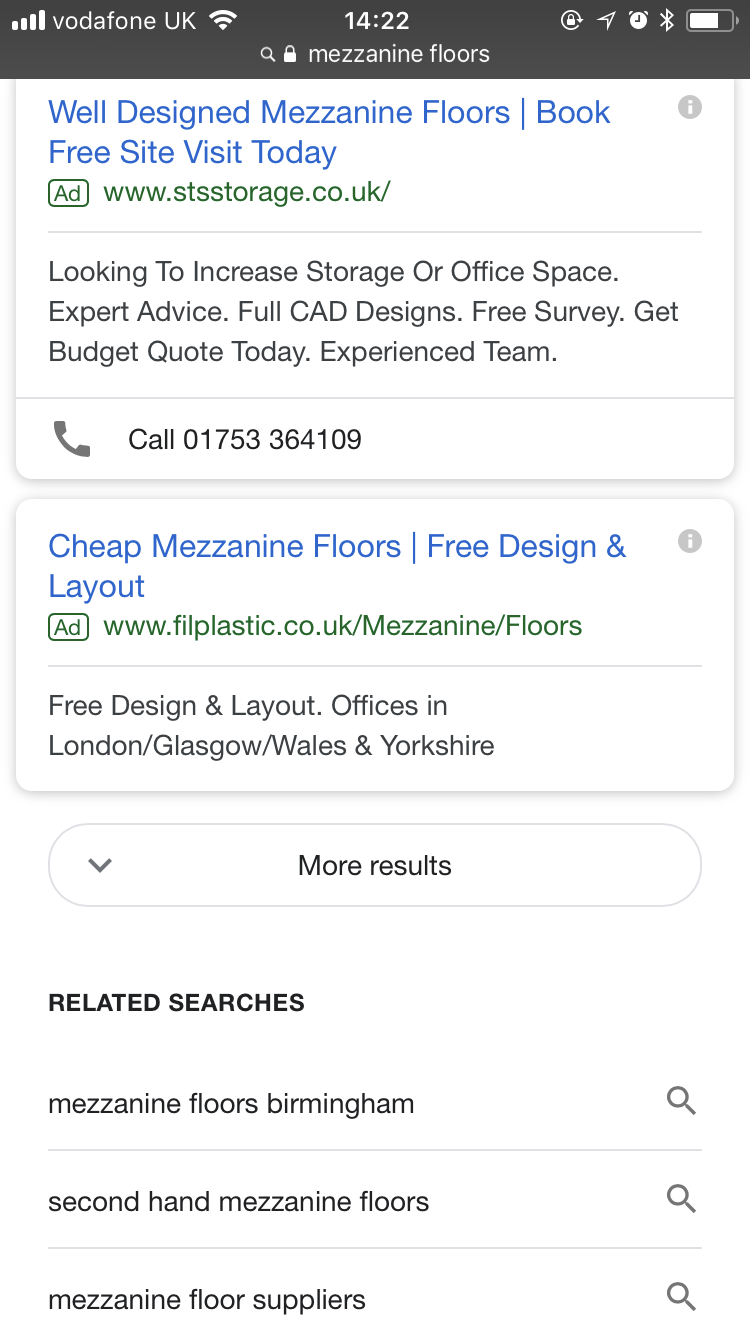 A screenshot of a mobile google result showing the new 'See more' google infinite scroll