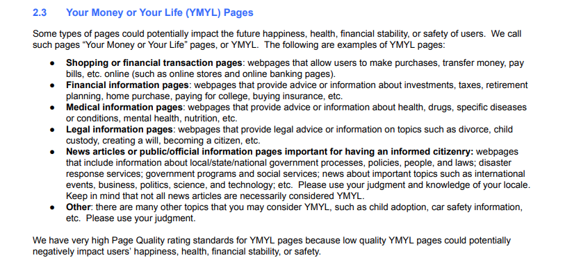 Screenshot from page 9 of Google's Quality Rater Guidelines outlining their definition of Your Money or Your Life pages