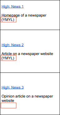 A screenshot from page 21 of Google's quality rater guidelines, outlining three news pages - a homepage, labeled 'YMYL'; an article, labeled 'YMYL'; and an opinion article which is not labeled 'YMYL'