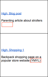A screenshot from page 22 of Google's quality rater guidelines, outlining two web pages - a blog post about strollers, not labelled 'YMYL', and backpack shopping page labeled 'YMYL'