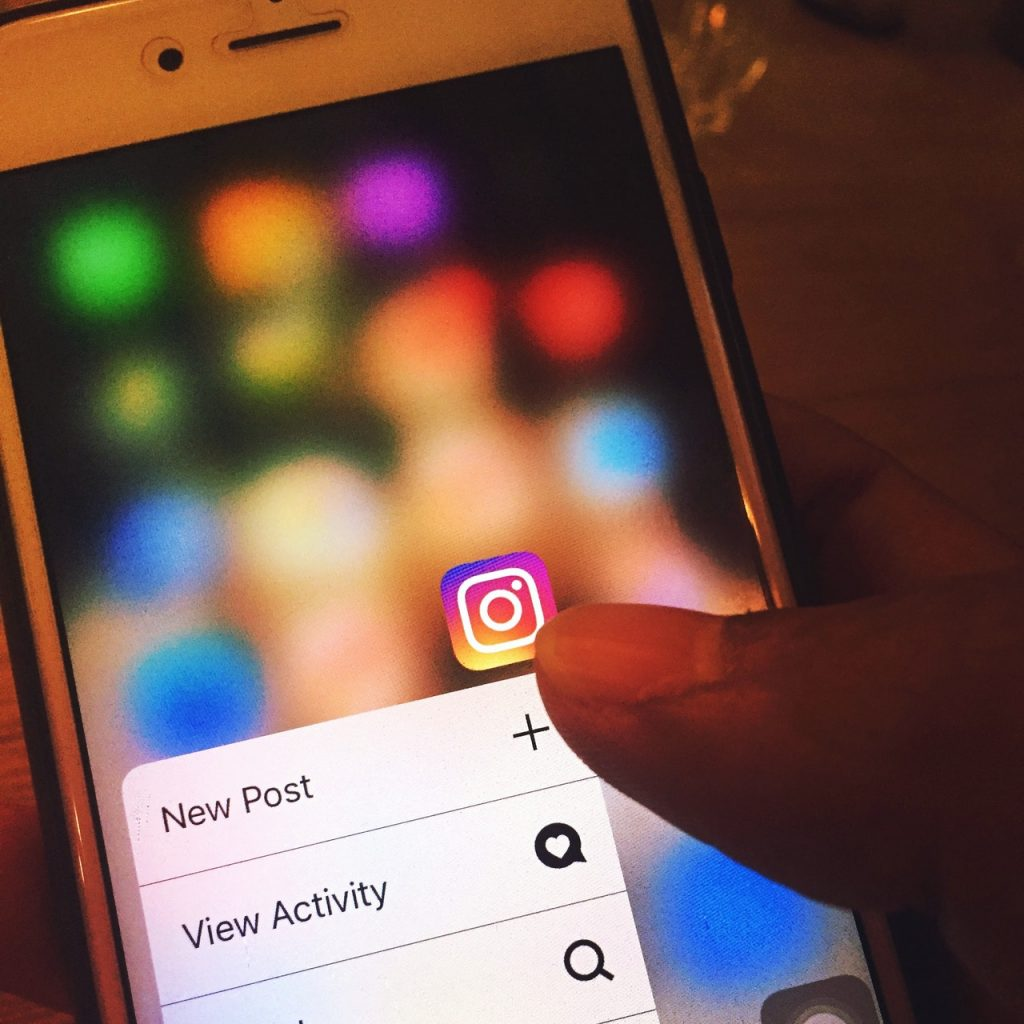 An image of someone entering social media app Instagram, ready to create a new post for content