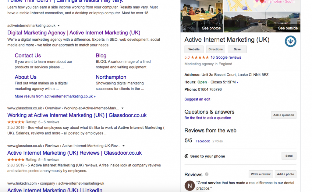 image of a serp showing a knowledge panel for active internet marketing