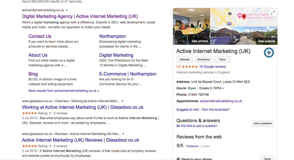 An image of a SERP displaying a knowledge panel
