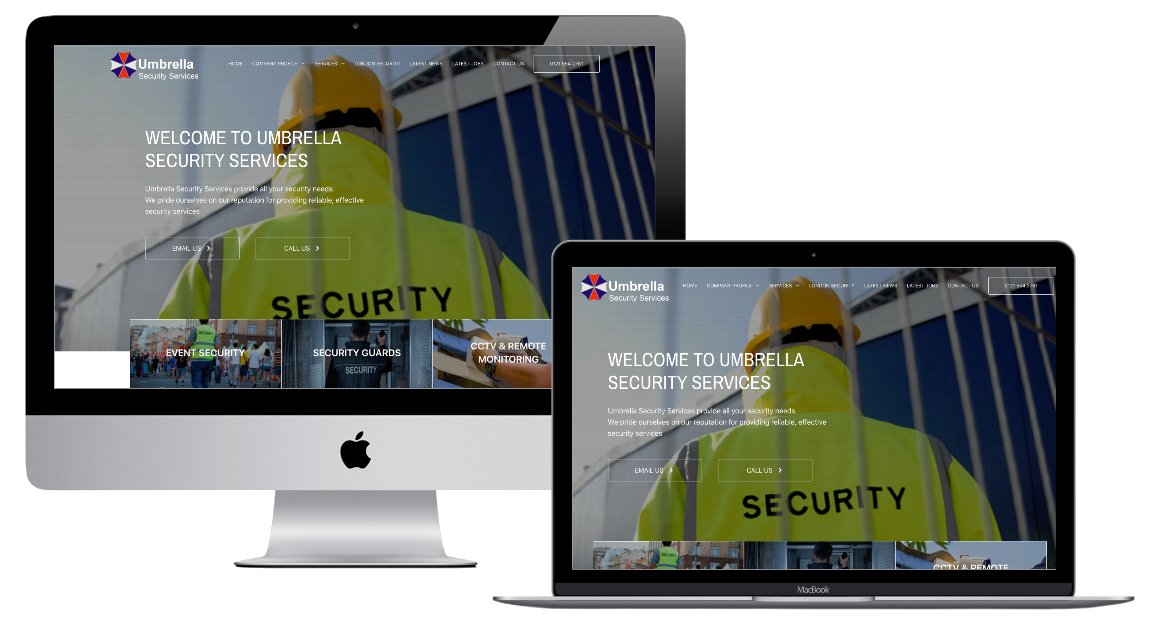 Umbrella Security Services homepage on desktop and laptop
