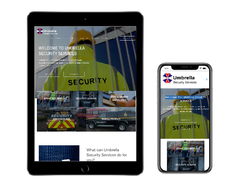 Umbrella Security Services homepage on tablet and mobile phone