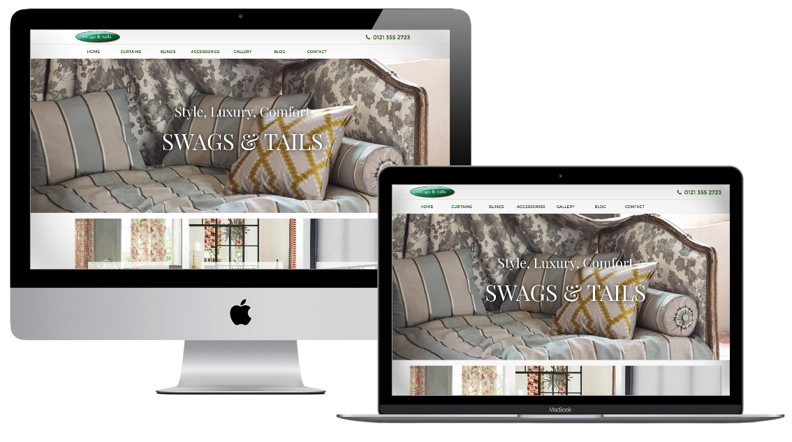 Image of the Swags and Tails website on different devices