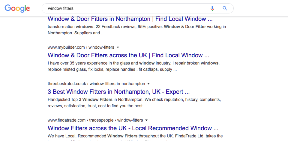 A SERP displaying a list of organic results.