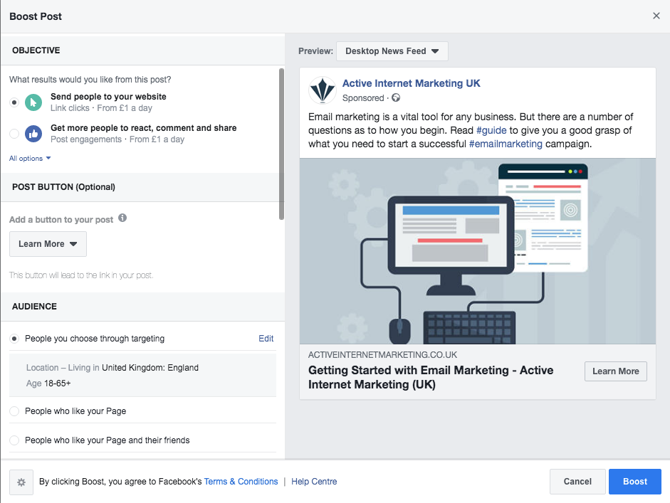 boosted facebook post targeting options