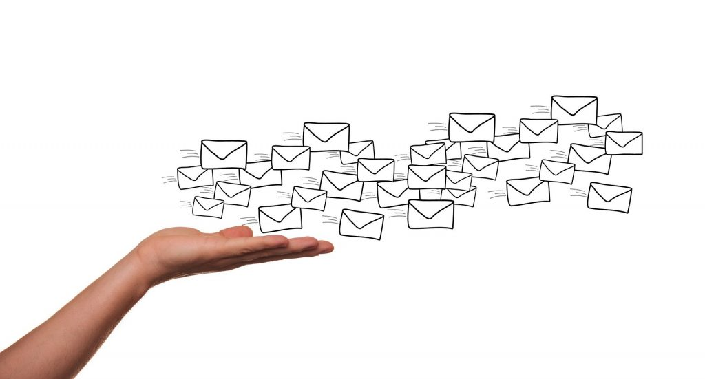 An image symbolising emails being sent to users.