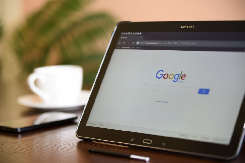 An image of Google displayed on a tablet.