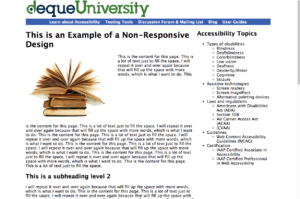 An image of an unresponsive website in full screen view